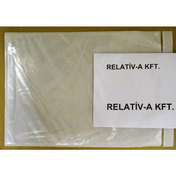 C4 visszazárható átlátszó okmánytasak (csomagkísérő), 500db/doboz - újrazárható, többször kinyitható, vastag