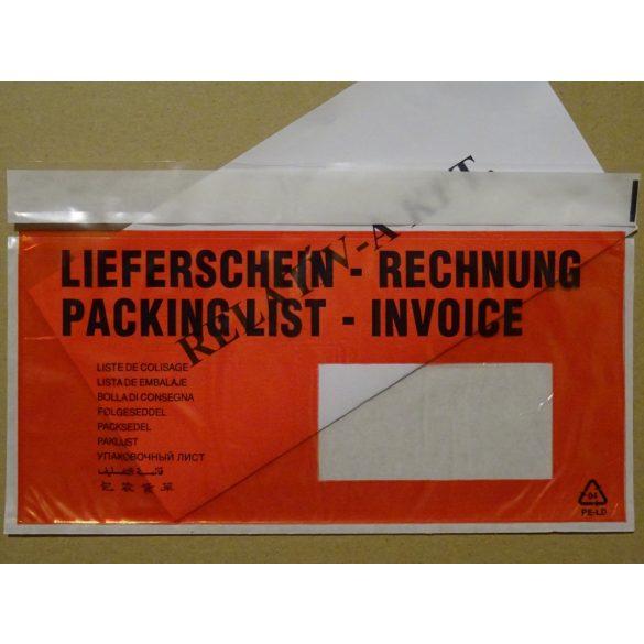LD JOBB ablakos piros nyomtatott okmánytasak (csomagkísérő), 1000db/doboz