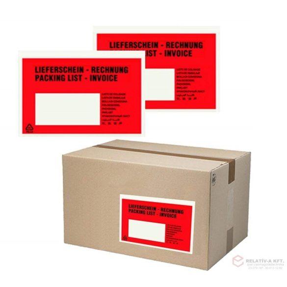 C5 piros okmánytasak nyomtatott (csomagkísérő), 1000db/doboz, Lieferschein, Rechnung, Packing list, Invoice