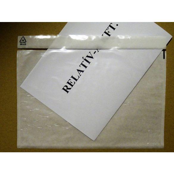 C5 átlátszó okmánytasak öntapadós fóliatasak (csomagkísérő), 1000db/doboz, tasak AKCIÓ!