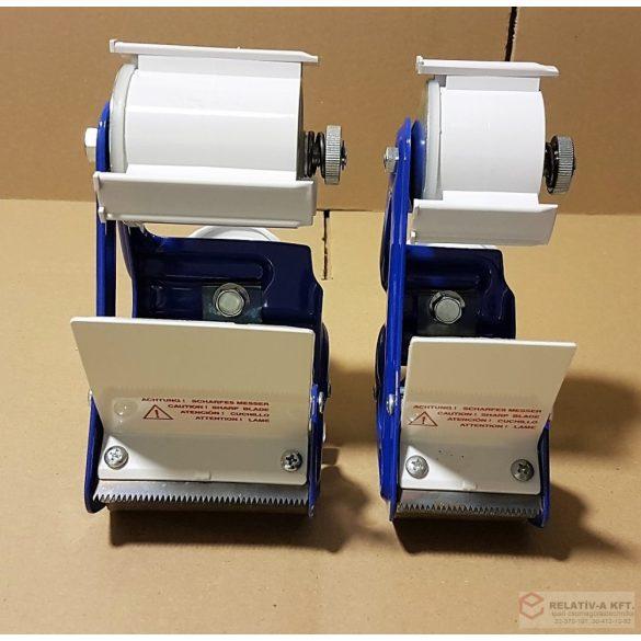 Kézi dobozzáró 50mm széles ragasztószalaghoz, tapadószalagfelhordó, fékezhető, fém, kék színű