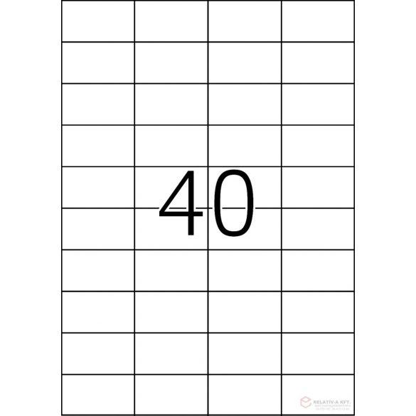 A4-es öntapadó címke, 52,5 * 29,7 mm, fehér, 4000 db címke / doboz, 100 ív / doboz (40 db etikett / ív)