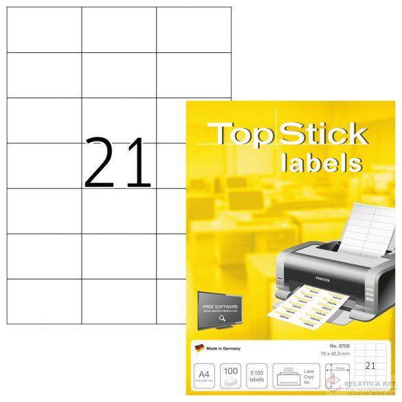 A4-es öntapadó címke, 70 * 42,3 mm, fehér, 2100 db címke / doboz, 100 ív / doboz (21 db etikett / ív)