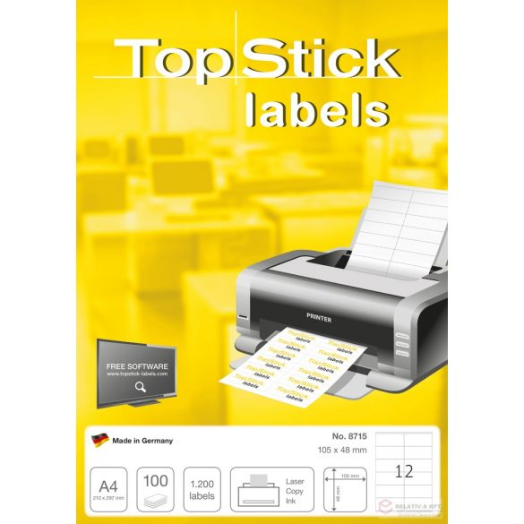 A4-es öntapadó címke, etikett címke 105 * 48 mm, fehér, 1200 db címke / doboz, 100 ív / doboz (12 db etikett / ív)