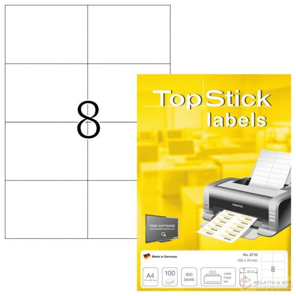 A4-es öntapadó címke, 105 * 74 mm, fehér, 800 db címke / doboz, 100 ív / doboz (8 db etikett / ív)