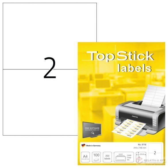 A4-es öntapadó címke, 210 * 148 mm, fehér, 100 db címke / doboz, 100 ív / doboz (2 db etikett / ív)