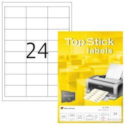 A4-es öntapadó címke, 64,6 * 33,8 mm, fehér, 2400 db címke / doboz, 100 ív / doboz (24 db etikett / ív)