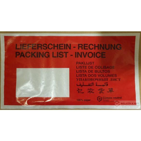 Öko papír okmánytasak LC5 PIROS (csomagkísérő papírból), 1000db/doboz