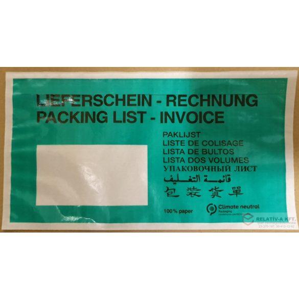 Öko papír okmánytasak LC5 ZÖLD (csomagkísérő papírból), 1000db/doboz